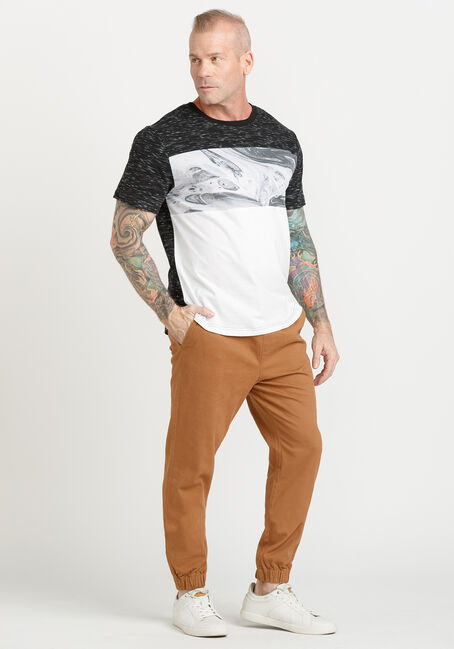 Men's Colourblock Swirl Tee, BLACK, hi-res