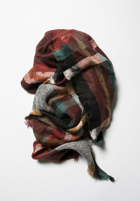 Women's Plaid Blanket Scarf, RUST/TEAL, hi-res