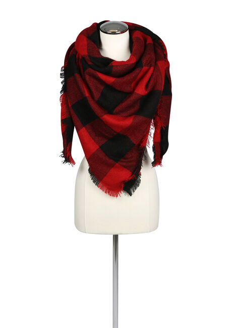 Ladies' Cabin Blanket Scarf, RED, hi-res