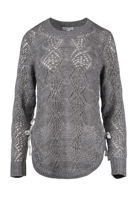 Women's  Lace Up Pointelle Sweater
