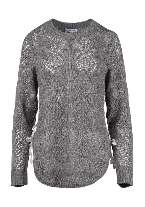 Women's  Lace Up Pointelle Sweater, GREY/IVORY, hi-res