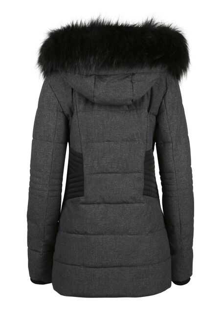 Ladies' Quilted Parka, CHARCOAL, hi-res