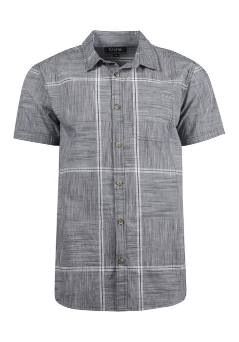 Men's Relaxed Plaid Shirt, GREY, hi-res