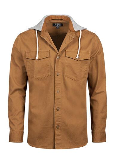 Men's Hooded Work Shirt, TOBACCO, hi-res