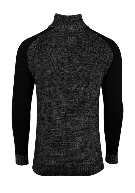 Men's Raglan Sweater, BLACK, hi-res