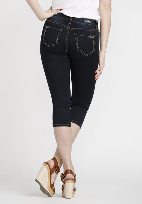 Women's Premium Capri, DARK WASH, hi-res