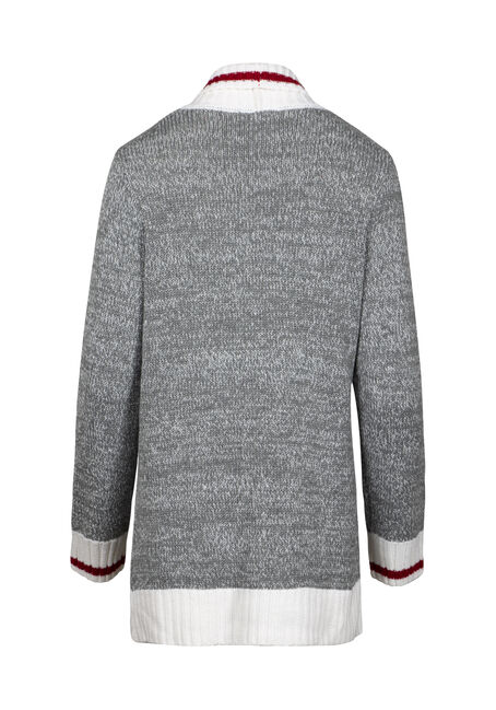 Women's Shawl Collar Cabin Cardigan, Grey Marl, hi-res