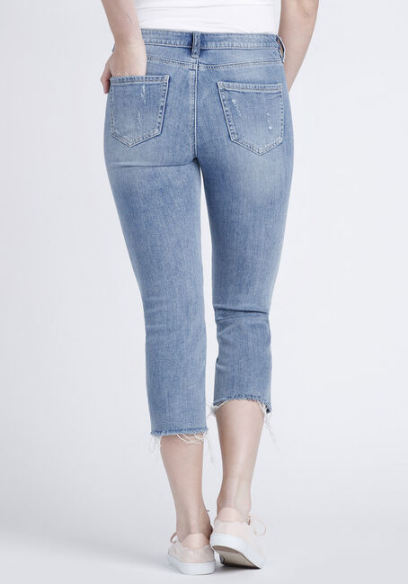 Women's Raw Hem Straight Crop Jeans, DENIM, hi-res