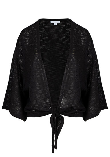 Womens' Tie Front Cardigan, BLACK, hi-res