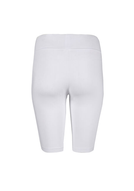 Women's Wide Waistband Biker Short, WHITE, hi-res