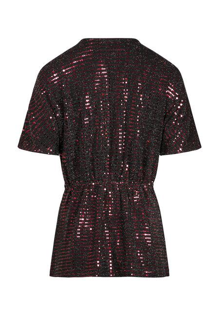 Women's Shimmer Twist Front Dolman, RED, hi-res