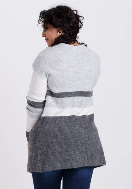 Women's Colour Blocked Cardigan, GREY MIX, hi-res