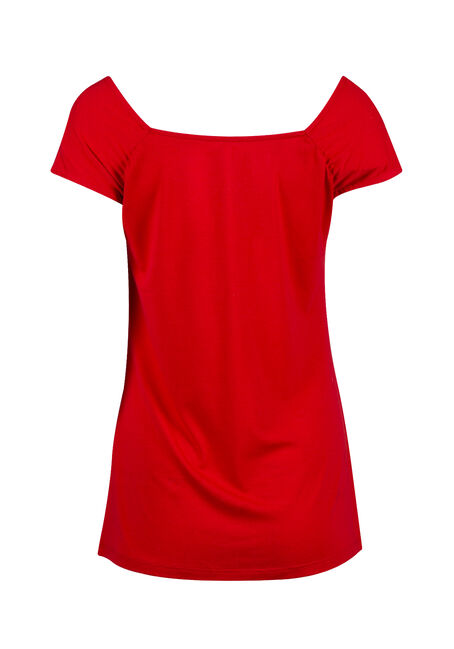 Women's Ruched V-neck Tee, RED SEA, hi-res