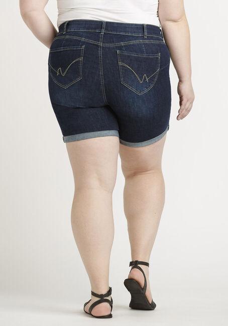 Women's Plus 2 Button Cuffed Dark Midi Jean Short, DARK WASH, hi-res