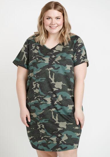 Women's Tee Shirt Dress, OLIVE, hi-res