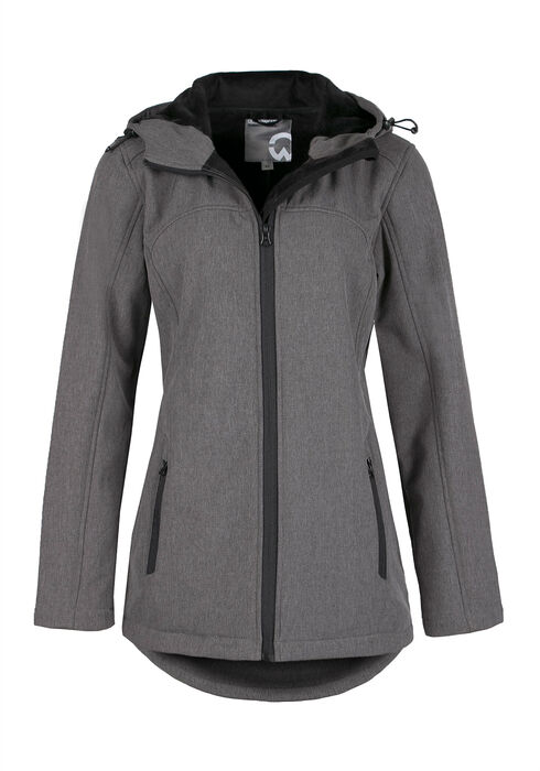 Ladies' Textured Softshell Jacket, CHARCOAL, hi-res