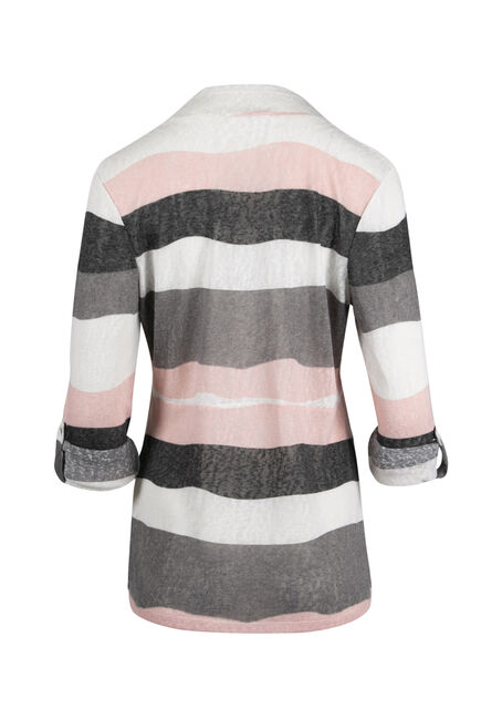 Ladies' Stripe Roll Sleeve Cardigan, MULTI, hi-res