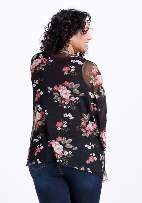 Women's Floral Mesh Cardigan, BLACK, hi-res