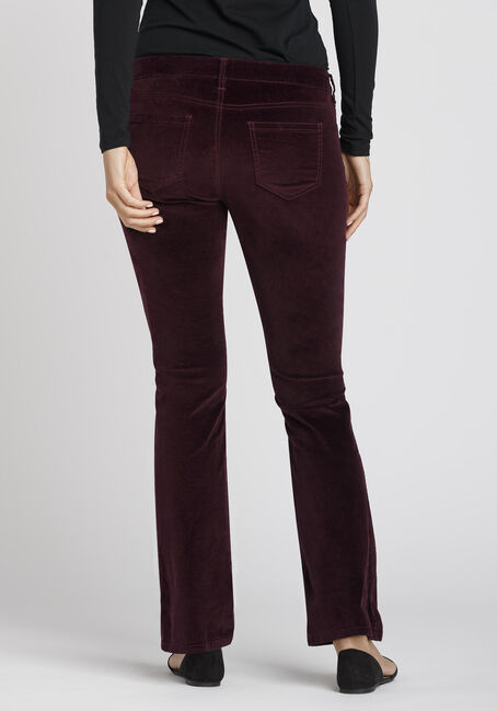 Ladies' Uncut Corduroy Baby Boot Pant, BURGUNDY, hi-res