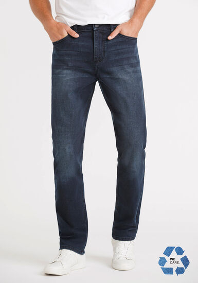Men's Black Blue Slim Fit Pants, DARK WASH, hi-res