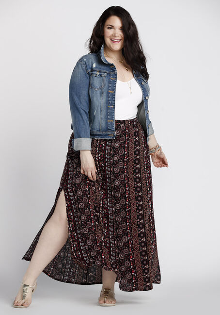 Women's Side Slit Maxi Skirt, MULTI, hi-res