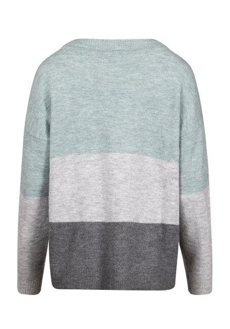 Women's Colour Block Sweater, MISTY BLUE, hi-res