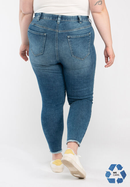 Women's Plus High Rise Destroyed Ankle Skinny Jeans, MEDIUM WASH, hi-res