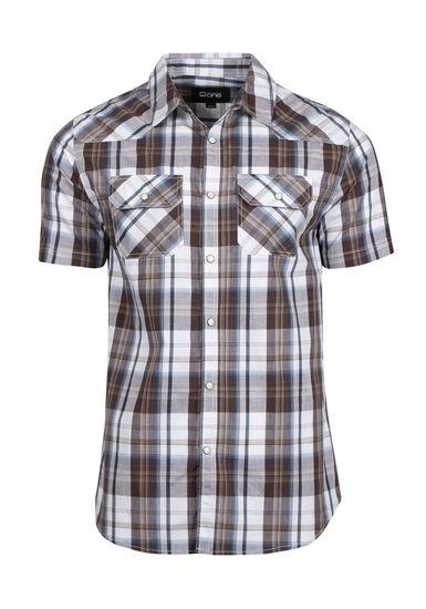 Men's Plaid Shirt, BROWN, hi-res