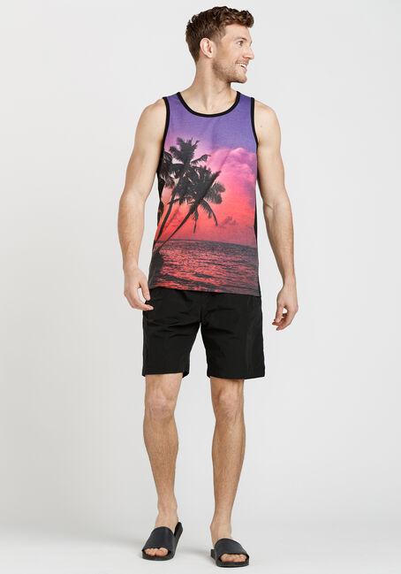 Men's Sublimation Palm Print Tank, PURPLE, hi-res