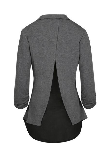 Ladies' Chiffon Back Blazer, CHARCOAL, hi-res