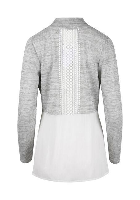 Ladies' Crochet Insert Cardigan, GREY/ WHITE, hi-res