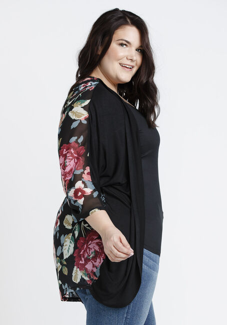 Ladies' Floral Print Cardigan, BLACK, hi-res