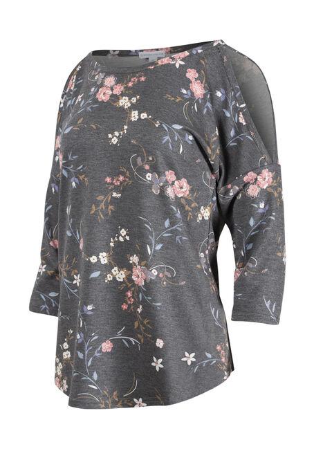 Women's Flower & Vines Cold Shoulder Top, BLACK, hi-res