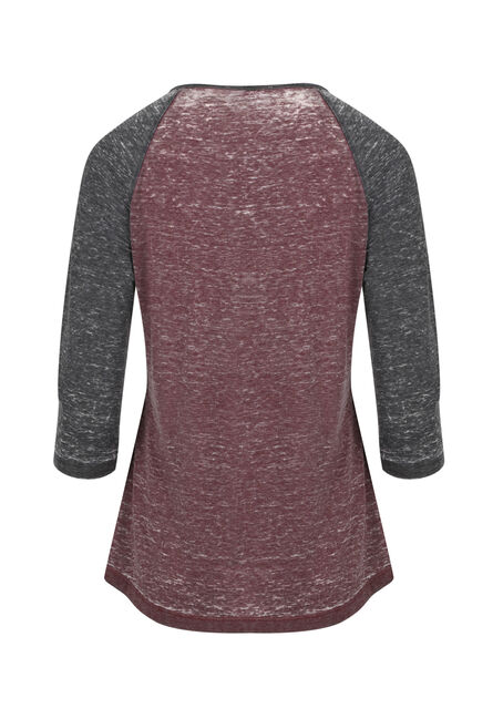 Ladies' Scroll Owl Baseball Tee, WINE/BLACK, hi-res