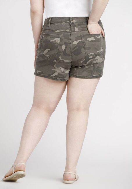 Women's Plus Size Camo Print Short, DARK OLIVE, hi-res