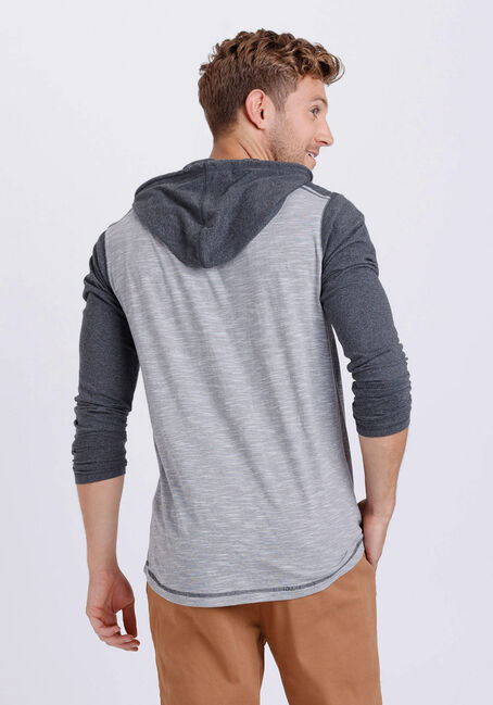 Men's Everyday Colour Block Hooded Tee, CHARCOAL, hi-res