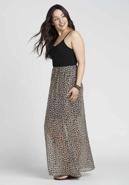 Ladies' Leopard Print Maxi Dress, MULTI, hi-res