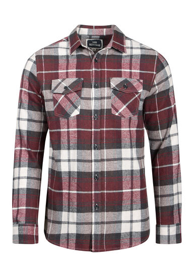 Men's Plaid Flannel Shirt, PLUM WINE, hi-res