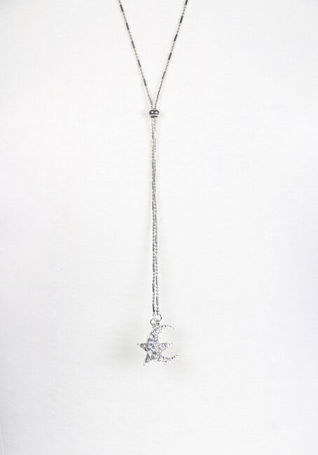 Ladies' Celestial Lariat Necklace, SHINY SILVER, hi-res