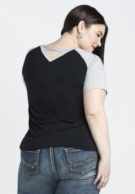 Ladies' Cross Back Baseball Tee, HGREY/BLACK, hi-res