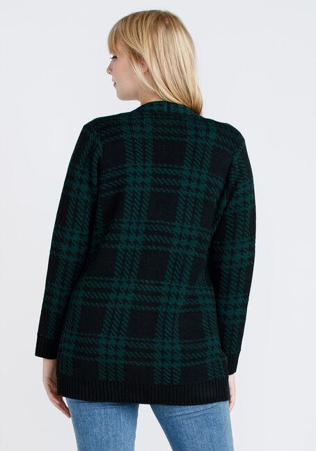 Women's Plaid Cardigan, HUNTER GREEN, hi-res
