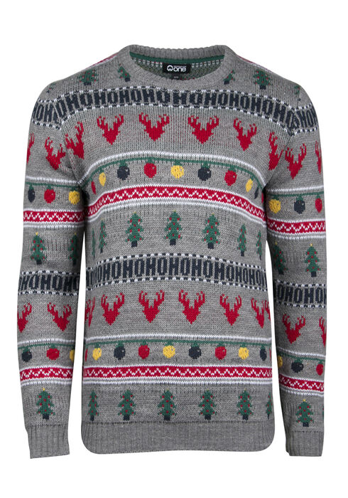 Men's Holiday Crew Neck Sweater, LIGHT GREY, hi-res