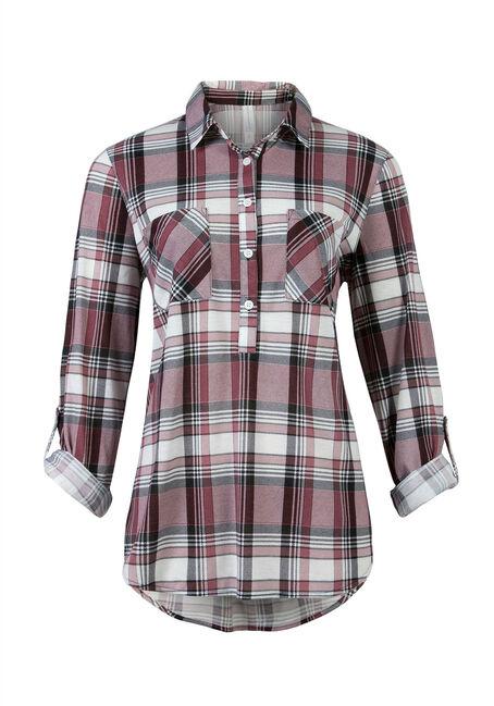 Ladies' Knit Popover Plaid Shirt