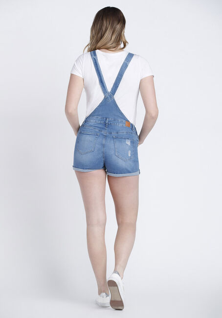 Women's Distressed Overalls, LIGHT WASH, hi-res