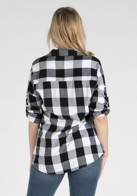 Women's Twill Plaid Shirt, BLACK/WHITE, hi-res