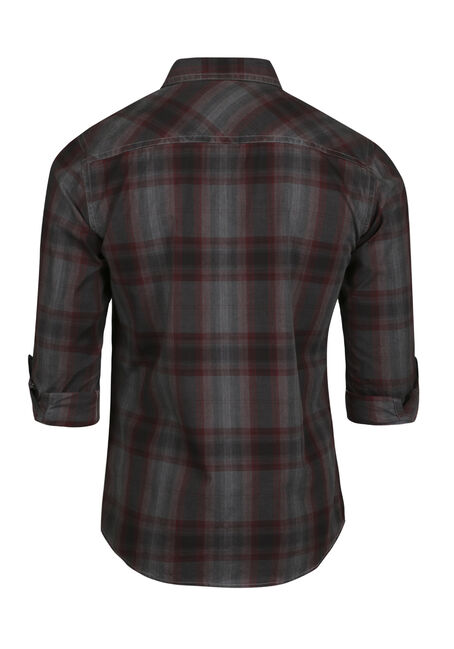 Men's Washed Plaid Shirt, CRIMSON, hi-res