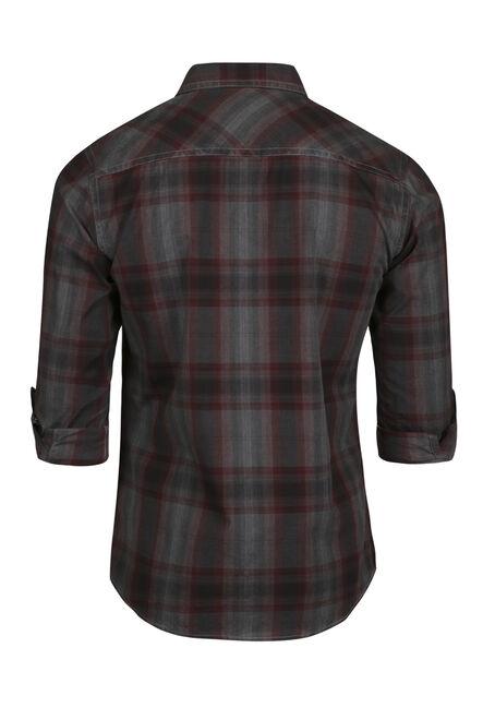 Men's Washed Plaid Shirt, CRIMSON, hi-res