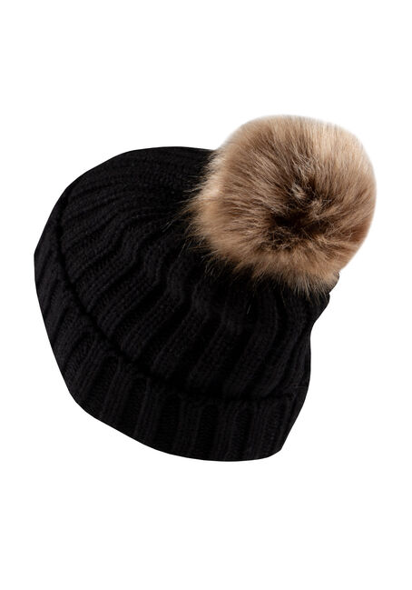 Women's Oversized Pom Hat, BLACK, hi-res