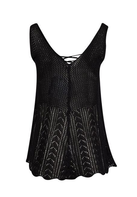 Ladies' Cage Neck Pointelle Tank, BLACK, hi-res