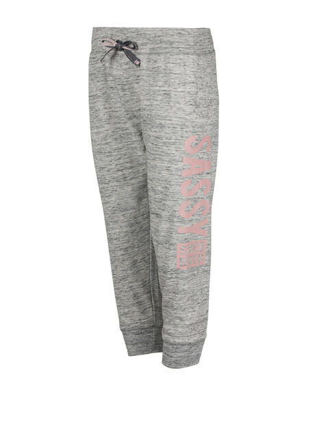 Ladies' Sassy Since Birth Jogger Capri, GREY, hi-res